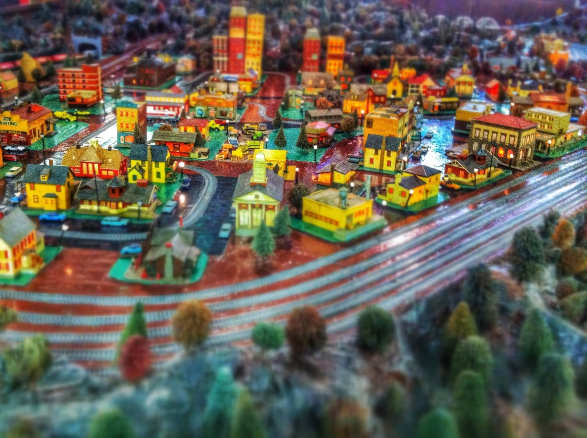 Cool little tiny town railroad display at Christmas Village in Bernville, PA
